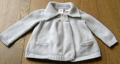 Seed  Baby Girls Pale Grey Cotton Cardigan Sz 6 - 12 Months