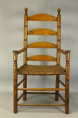 Very Rare Pilgrim 17Th C Plymouth County,  Ma Ladder Back Mushroom Hand Armchair