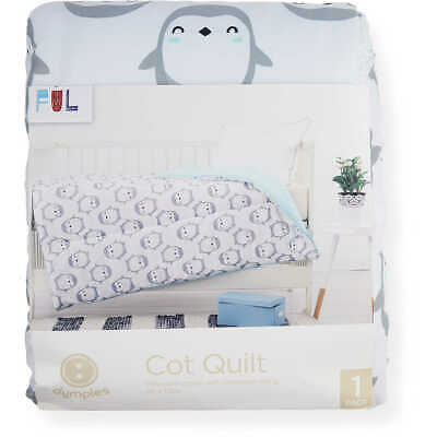 NEW Dymples Baby Cot Quilt Duvet 1x1.2m - Penguin Print Birthday Gift AU Stock