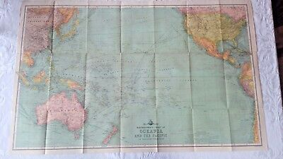 Antique Map Bartholumew's Chart Oceania and the Pacific (China Empire, Asia)