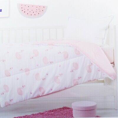NEW Dymples Baby Cot Quilt Duvet 1x1.2m - Pink Swan Print Birthday Gift AU Stock