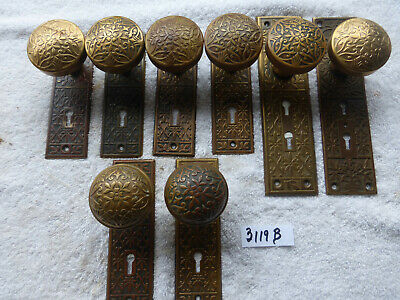 Antique Vintage 22+ Piece Brass Lockwood Door Hardware SET 3119 B