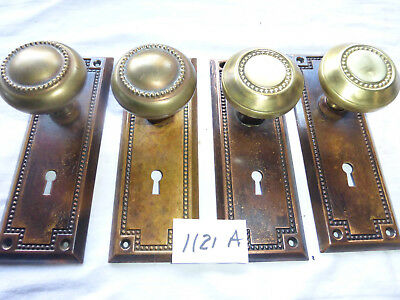 TWO SETS Antique Solid Brass Beaded Door Hardware 1121 A