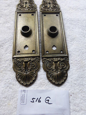 Antique LARGE Heavy Cast Iron Victorian Door Plate SET 516 G