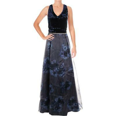 9349cf020cd Ignite Evenings Womens Navy Crushed Velvet Organza Formal Dress Gown 8 BHFO  9834