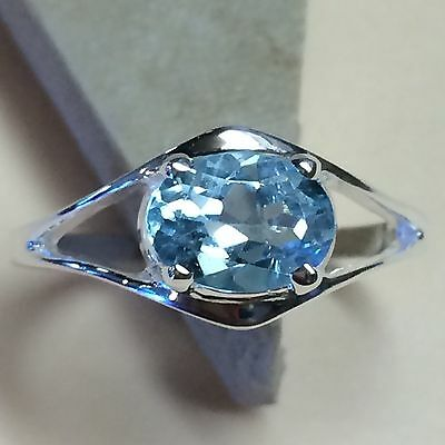 Genuine 2ct Swiss Blue Topaz 925 Solid Sterling Silver Solitaire Ring sz 6.75