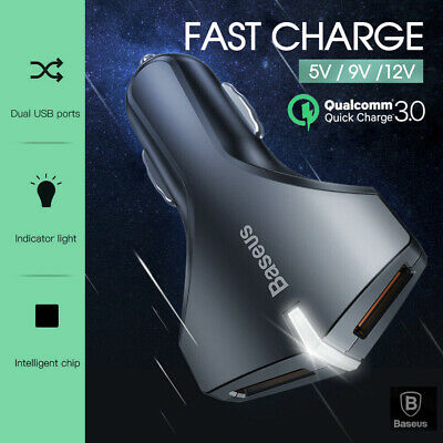 3A QC3.0 Dual USB Fast Car Charger Cigarette Lighter 2 Port 12-24V Galaxy S10 S9