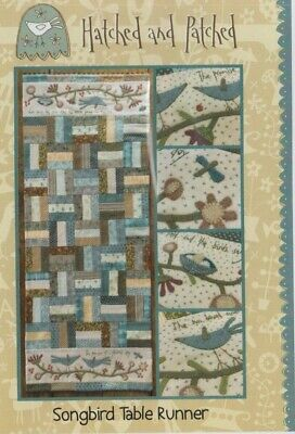 PATTERN -Songbird Tale Runner - applique & stitchery PATTERN - Hatched & Patched