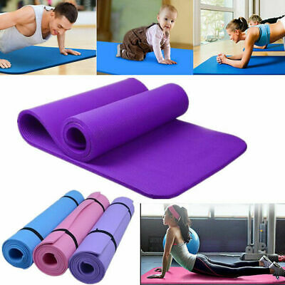 Yoga Mat For Pilates Gym Exercise Black Strap 15mm Thick Large Comfortable