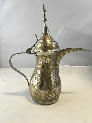 Arabic Islamic Brass Dallah Coffee Tea Pot floral signed Patent # 86710