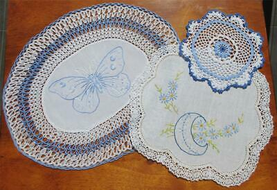 Hand Embroidered Linen and Crochet Vintage DOILIES 'Variety Plus'