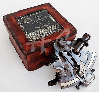 Sextant Brass Collectible Antique Ship Astrolabe Nautical With Leather Box