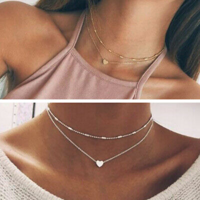 Lady Necklace double layer heart chain hot multilayer choker pendant gold silver