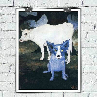 Blue Dog cartoon art HD print canvas painting home decor wall art picture 16X20