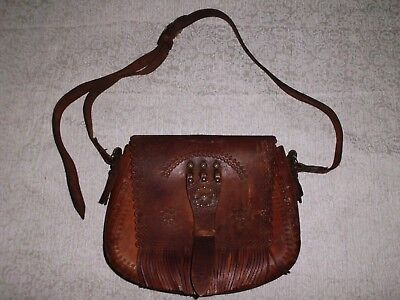 VINTAGE ANTIQUE 19th CENTURY BULGARIAN LADIES LEATHER HANDBAG HANDMADE AUTHENTIC