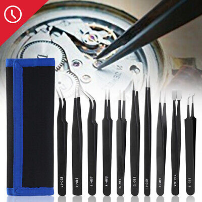 Professional 10xCoated Precision Tweezers Set Stainless Steel Non Magnetic Craft
