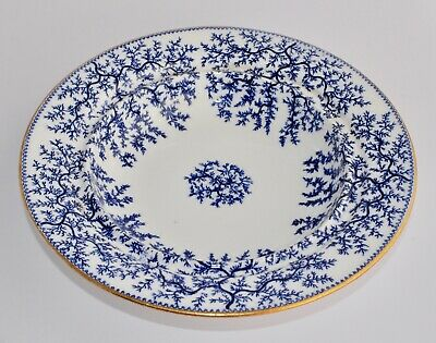 Antique Minton SEAWEED Blue Wide Rimmed Soup Bowl G2702 - 22.3cm