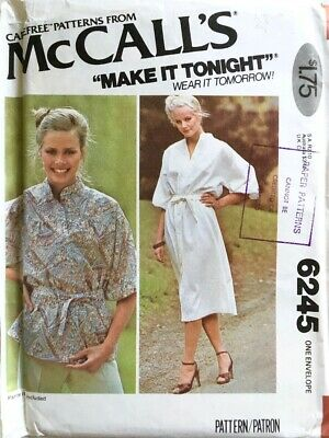 McCalls Easy Sewing Pattern 6245 Tunic Top & Dress Sizes 4 - 20 UNCUT