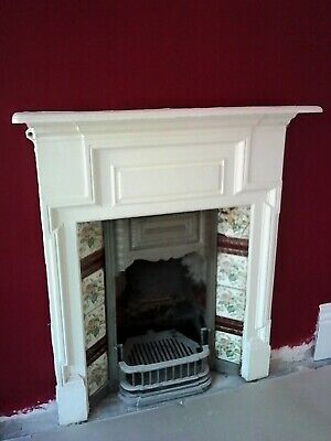 Large Victorian Cast Iron Tiled Fire Place And Surround With Grate