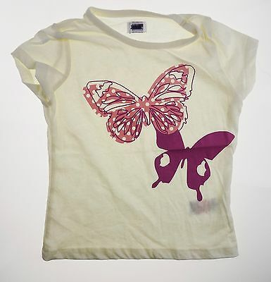 Girls Short Sleeve T-shirt Top Blouse Cream 100% Cotton 12/18 months