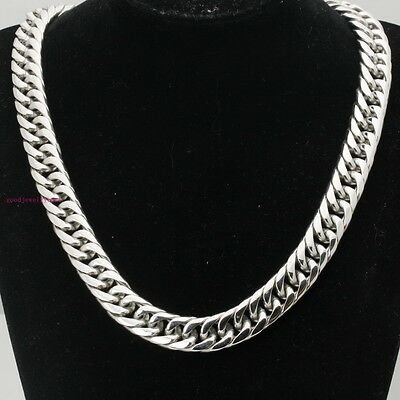 """24"""" 18K Silver Tone Stainless Steel 20mm Wide Heavy Mens Cuban Chain Necklace"""