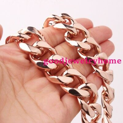 """New Womens Mens stainless steel Rose Gold cuban Curb Link Chain necklace 23.6"""""""