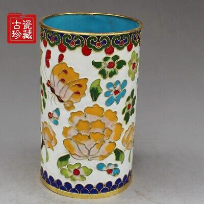 China Palace Cloisonne Brass Blooming Flower Noble Statue Brush Pot pencil vase