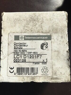 LC1 D1201F7 25 Amp Telemecanique Contactor 110Volt Coil New Unused. And Boxed