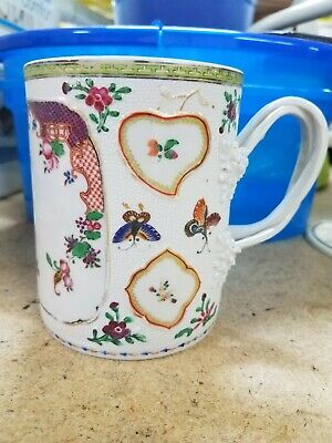 Large 18th c Antique Chinese Export Porcelain Tankard Mug  Butterflies Flowers