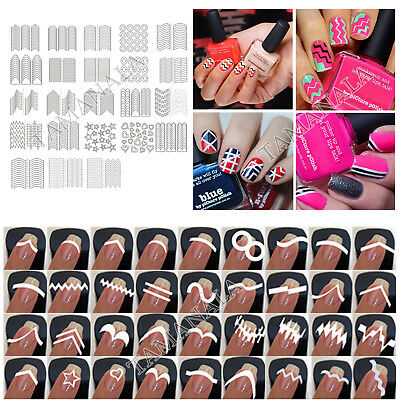 23Sheet Multi Style Nail Art French Manicure Guide Tip Manicure Stickers Stencil