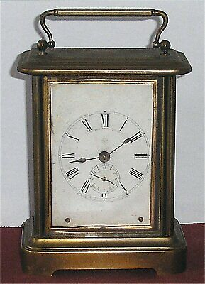 19th Cent Ansonia Brass Carriage Alarm Clock Patented 27th March 1877 - Working