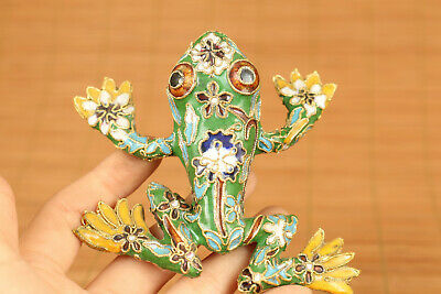 rare Chinese cloisonne hand casting fortune frog statue netsuke home decoration