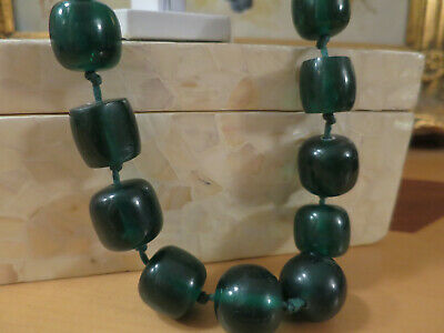 Fantastic Vintage Green Resin Large  Beaded Necklace, hand knotted