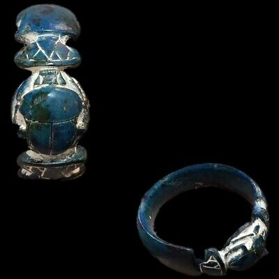 Very Rare Ancient Egyptian Blue Glazed Scarab Bangle Top Quality 300 B.c.