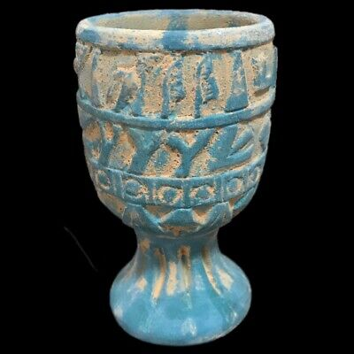 Very Rare Large Ancient Egyptian Blue Chalice Late Period 664 - 332 Bc (1)