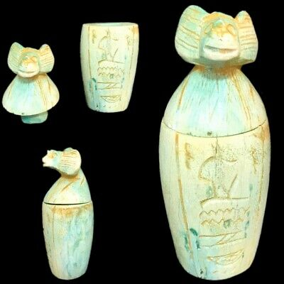 Very Rare Ancient Egyptian Canopic Jar Late Period 664 - 332 Bc (1)