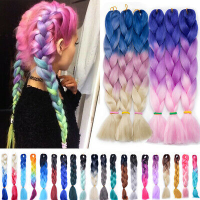 5 Bundles Premium Ombre Full Head Jumbo Braiding Afro Hair Extensions as human