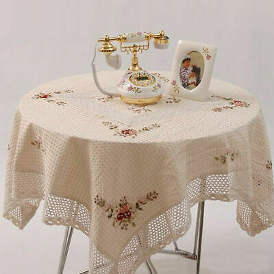 French Lace Flower Embroidery Table Cloth 135x175cm Home Kitchen Decoration_EU