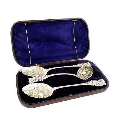 ANTIQUE VICTORIAN SILVER PLATED BERRY SPOONS & SIFTER SPOON in CASE