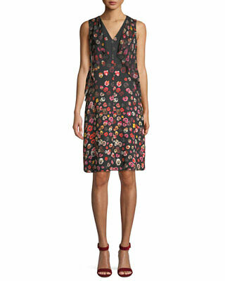 $598 Elie Tahari Women'S Black Floral Print Sleeveless V-Neck Silk Dress Size 4