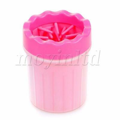 Soft silicone brush Dog Paw Cleaner Handy  rose red