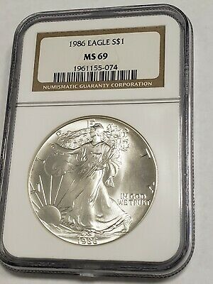 1986 Ngc American Silver Eagle 1St Year Ms 69