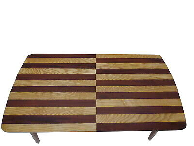Striped Art Deco Dining Table made of Mahogany and Oak Wood