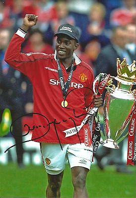 Hand Signed 8x12 photo DWIGHT YORKE Man Utd Manchester United Football + COA
