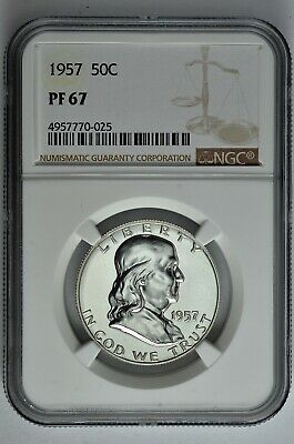 1957 50c Silver Proof Franklin Half Dollar NGC PF 67