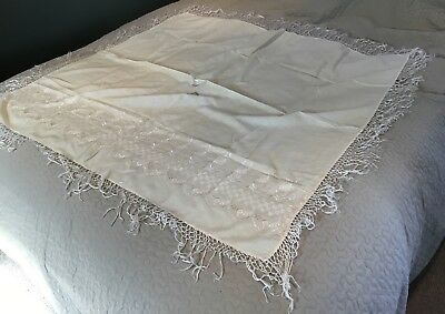 Vintage Chinese Cantonese Macrame Edge Cotton Embroidered Piano Shawl Cloth 10