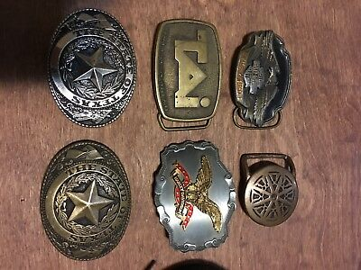 Collection Of Belt Buckles Harley-Davidson Texas Brass Tony Lama Vintage Lot