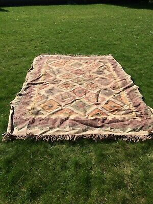 Large Rug Indian Hand Knotted Diamond Motif Muted Colours Jute Wool