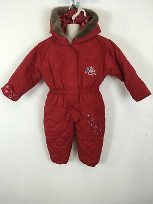Girls Baby Adams Red Zip Up Hooded Floral All In One Snowsuit Age 1 - 1.5 Years