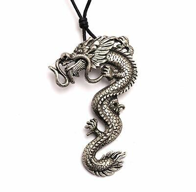 Chinese Asian Celtic Dragon Tiger Silver Pewter Necklace Pendant Jewelry